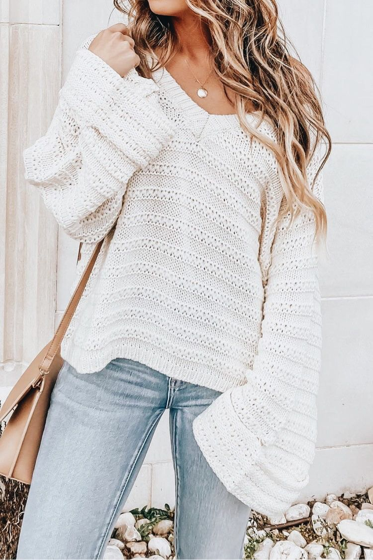 Photo of See Me Again Cream Ribbed Knit Sweater