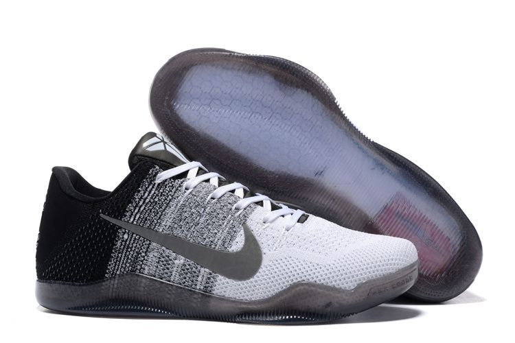 19ecc5af342c Nike Flyknit Kobe 11 Shoes Grey Black White