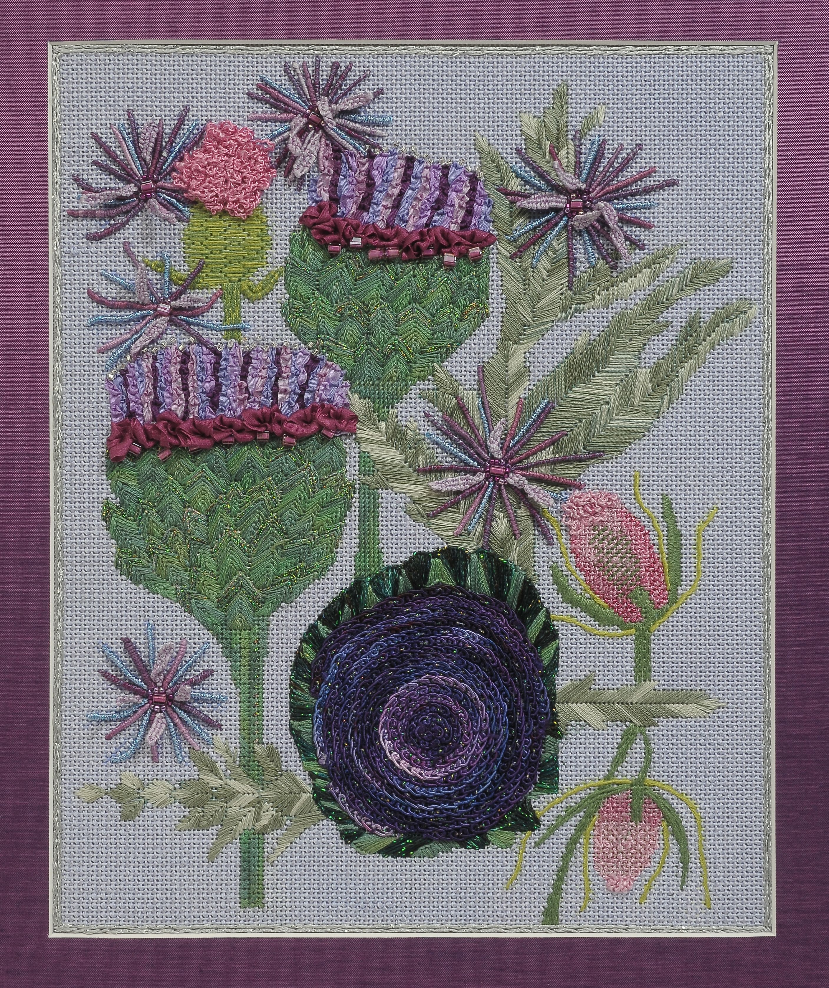 BB Needlepoint designs BB 46 -Artichokes, Finished Model, stitch guide available -