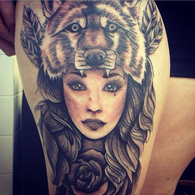 Girl With Wolf Head Tattoo Meaning Sok Pa Google Wolf Girl Tattoos Tattoos Head Tattoos