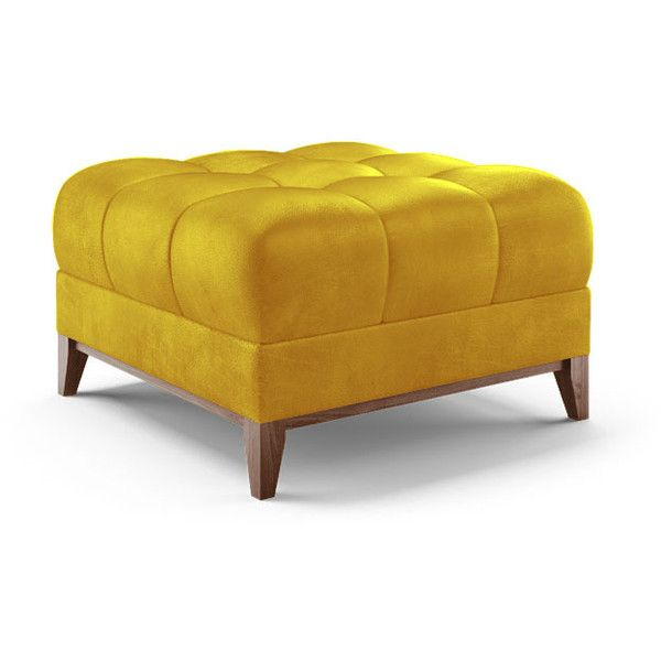 Joybird Stowe Mid Century Modern Yellow Leather Ottoman 959 Liked On Polyvore Featuring Home Leather Ottoman Leather Footstool Mid Century Style Furniture