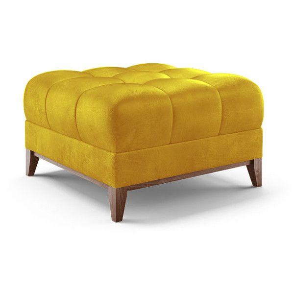 Joybird Stowe Mid Century Modern Yellow Leather Ottoman 959