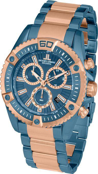 9cc5d2f2ee2b Jacques Lemans Herren-Armbanduhr XL Liverpool Professional Chronograph  Quarz Edelstahl beschichtet 1-1805K  JACQUES LEMANS  Amazon.de  Uhren