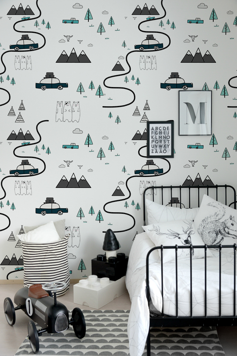 Adventurous Removable Wallpaper For Kids Room With Cars Mountauins And Roads Off You Go Little One Kids Room Wallpaper Kids Wallpaper Removable Wallpaper