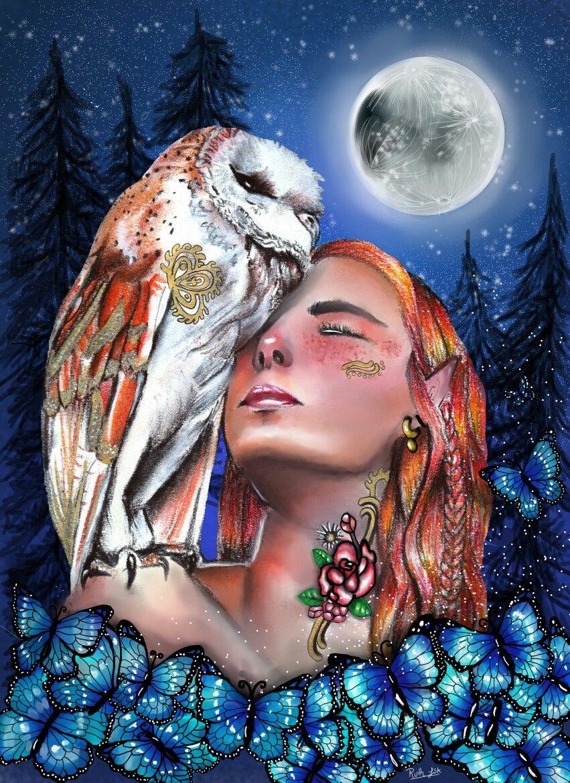 Me Encanta La Fantasia Y Esta Es Una Ilustracion Realizda Con Dibujo Tradicional Combinado Con El Digital Fantasy Ow Dibujos Tradicionales Owl Illustration