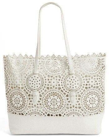 960341c2a5  34.80 Shiraleah Helena Perforated Faux Leather Tote - White