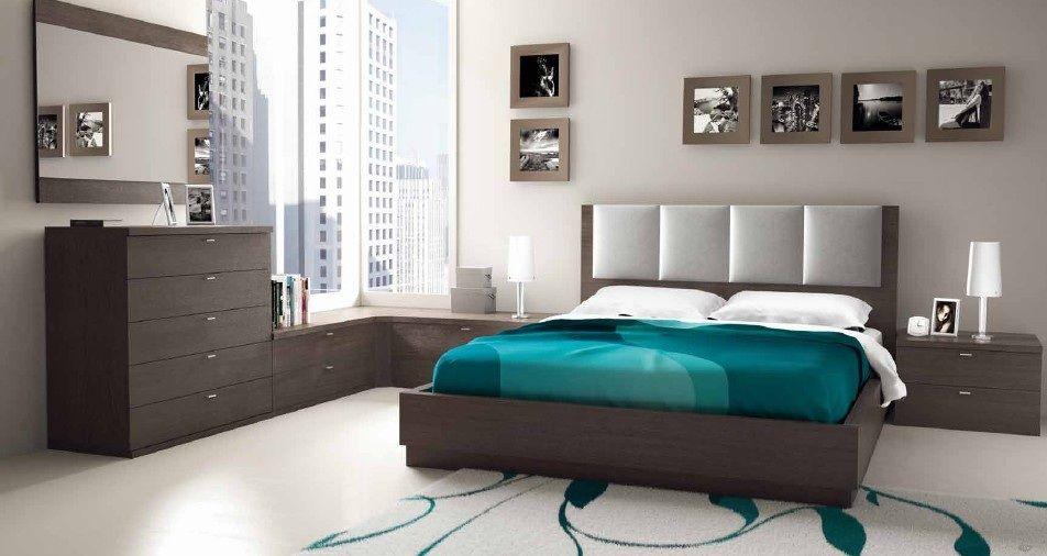 Dormitorio en ceniza y gris perla con ropa de cama azul - Habitacion con tocador ...