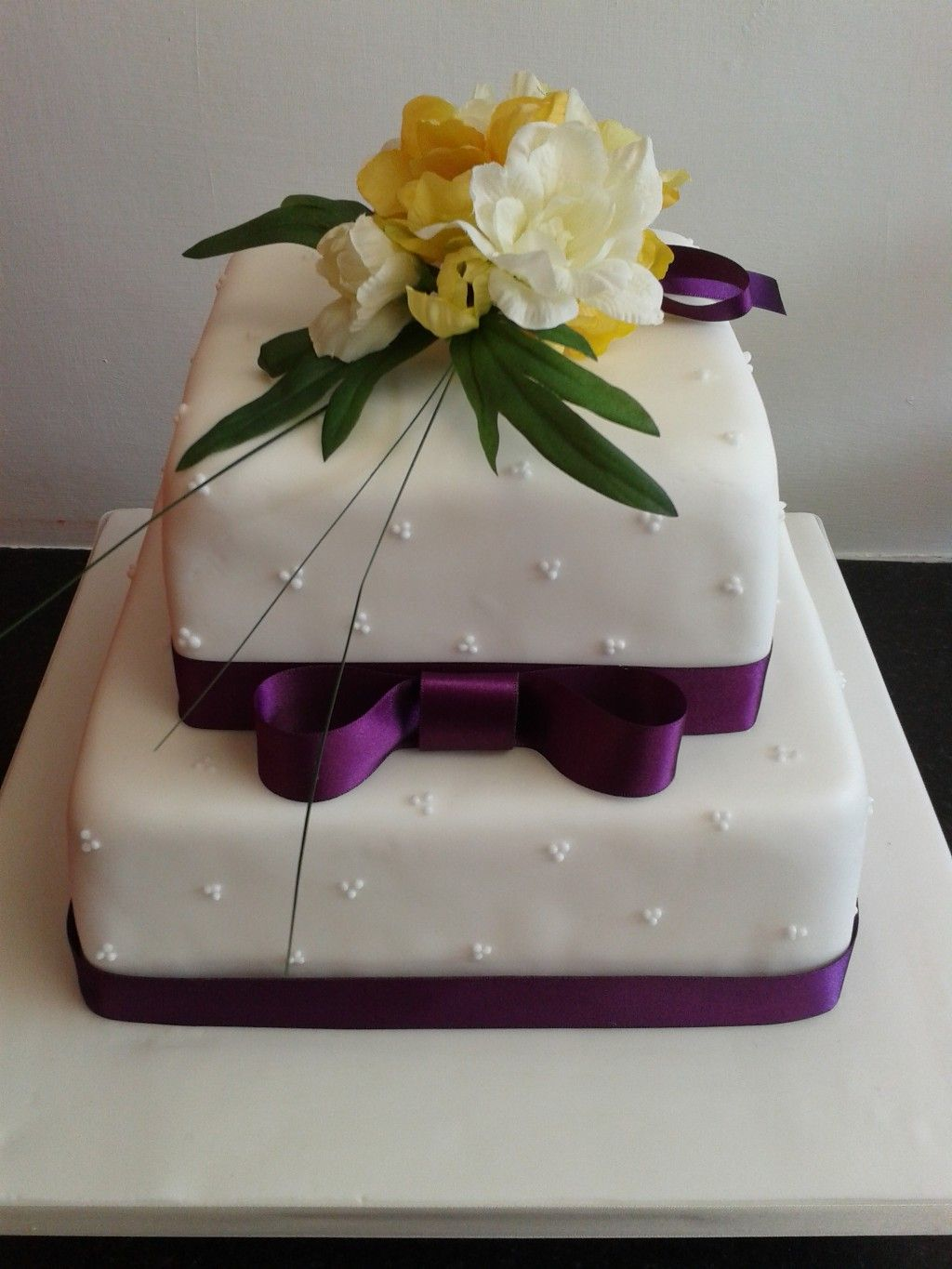 Simple 2 Tier Wedding Cakes Two Cake With Flower Topper