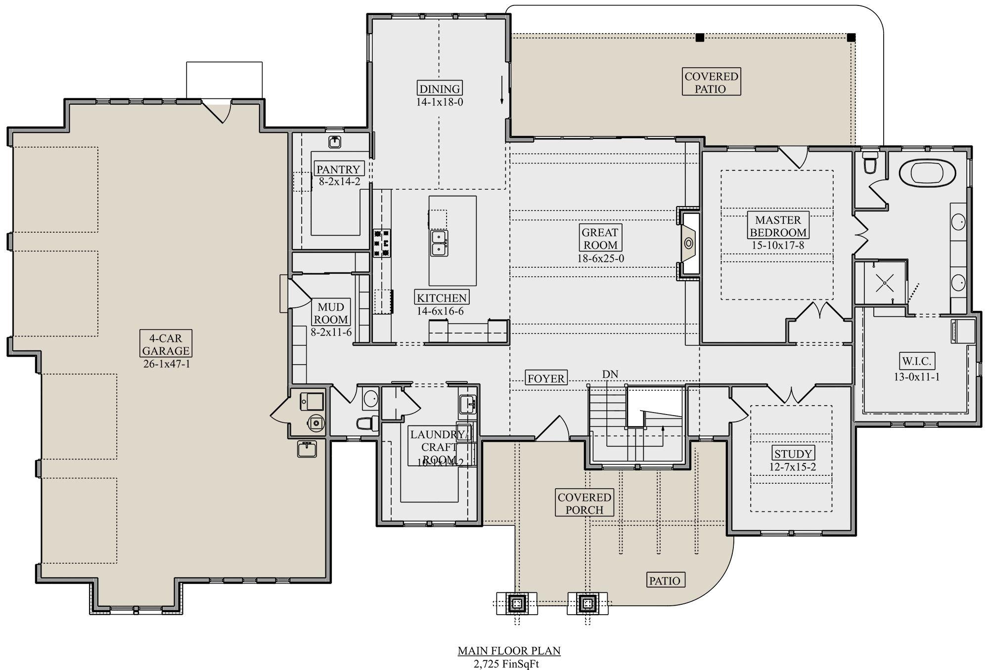 House Plan 5631 00120 Craftsman Plan 2 725 Square Feet 1 4 Bedrooms 1 5 Bathrooms 1 Bedroom House Plans Floor Plans Ranch House Plans