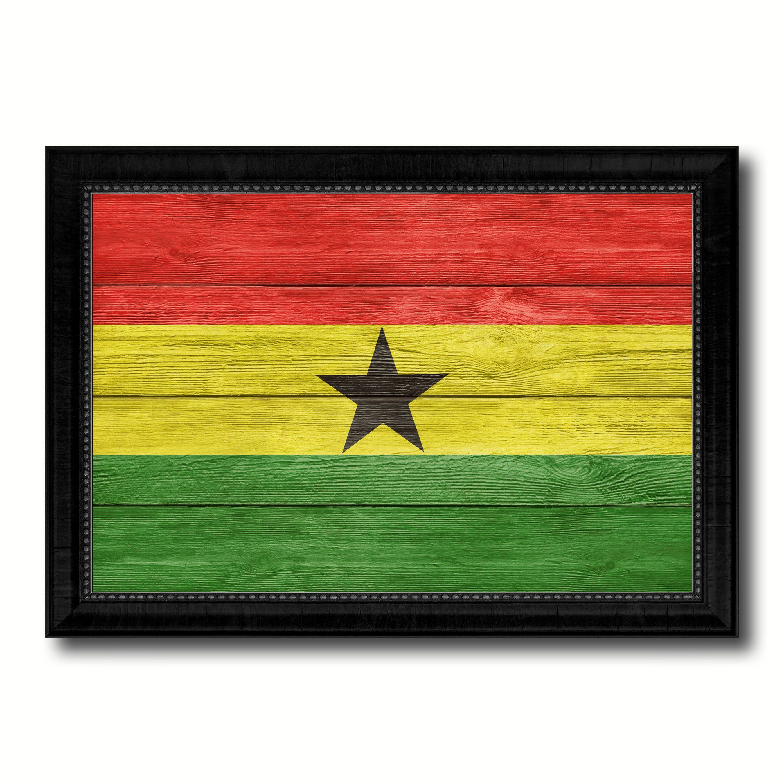 Ghana Country Flag Texture Canvas Print with Black Picture Frame ...