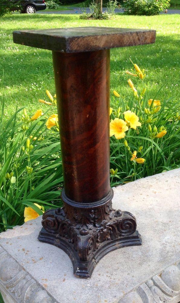 ANTIQUE OAK POST COLUMN PEDESTAL PLANT STAND CANDLE STAND - Column pedestal plant stand