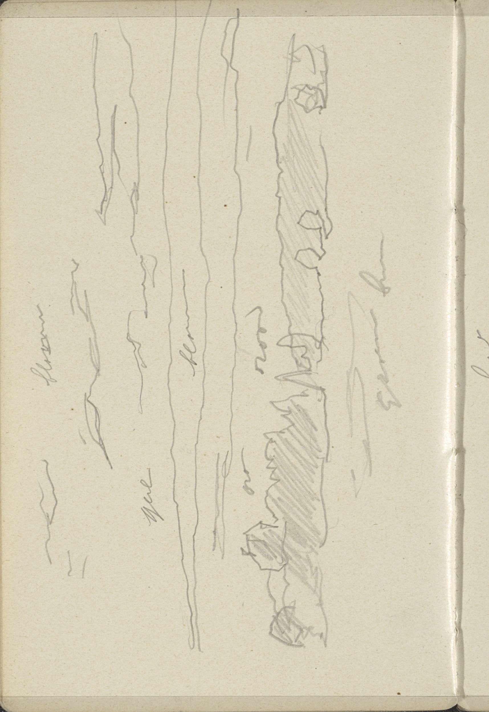 George Hendrik Breitner | Landschap, George Hendrik Breitner, c. 1915 - c. 1916 | Pagina 17 uit een schetsboek met 43 bladen.