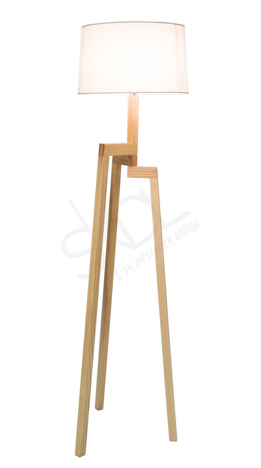 Thor Scandinavian Floor Lamp Natural Wood Tripod Ivory Shade Scandinavian Floor Lamps Lamp Floor Lamp