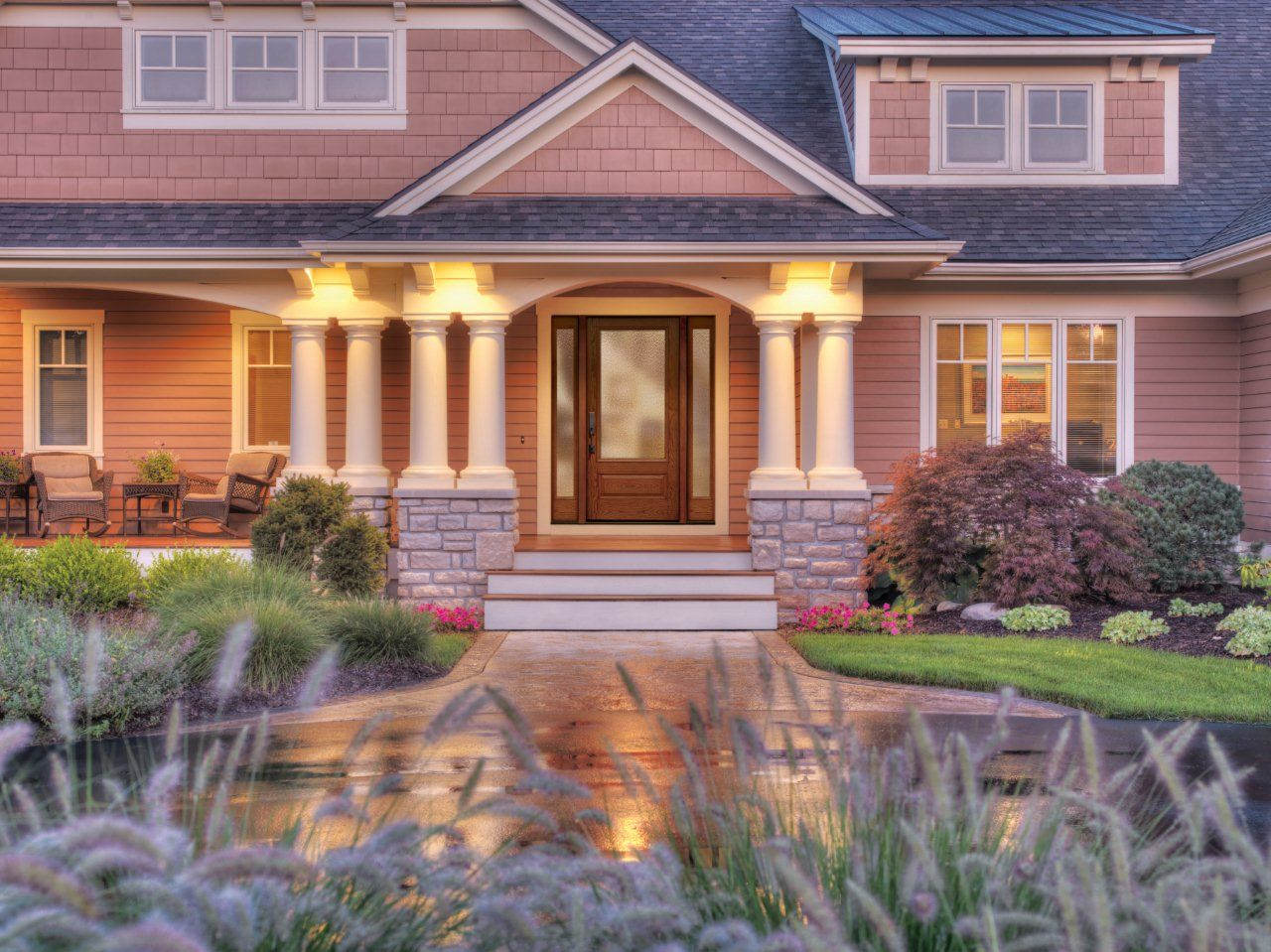 Front porch ideas in stone stone house pillar decoration