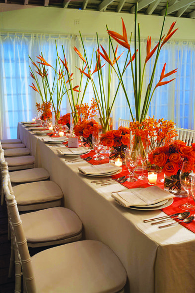 Follow us signaturebride on twitter and on facebook for Orange centerpieces for tables