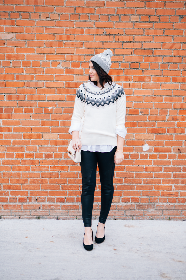 Spreading holiday cheer to an edgy look with an Old Navy Fair Isle ...