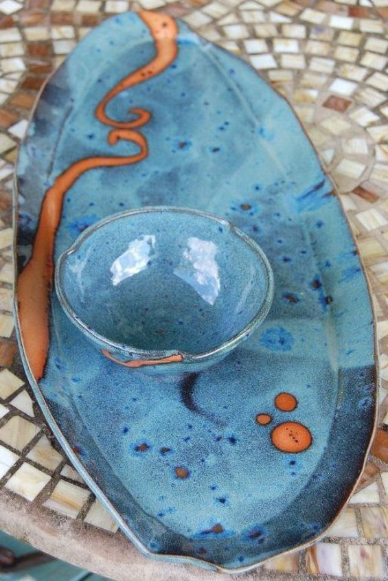 Platter and Dipping Bowl in Slate Blue with Rust by pagepottery Handmade Pottery , Ceramics, Clay art, Design #beautiful #ceramics #inspiration #PotteryDesign