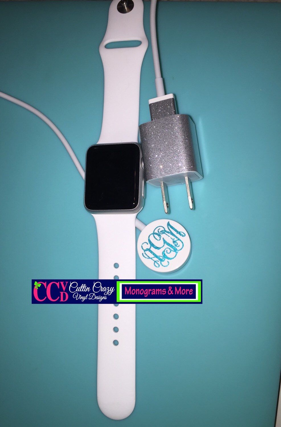 Apple Watch Charger Glitter Monogram Cord Wrap Vinyl Etsy Apple Watch Charger Apple Watch Accessories New Apple Watch