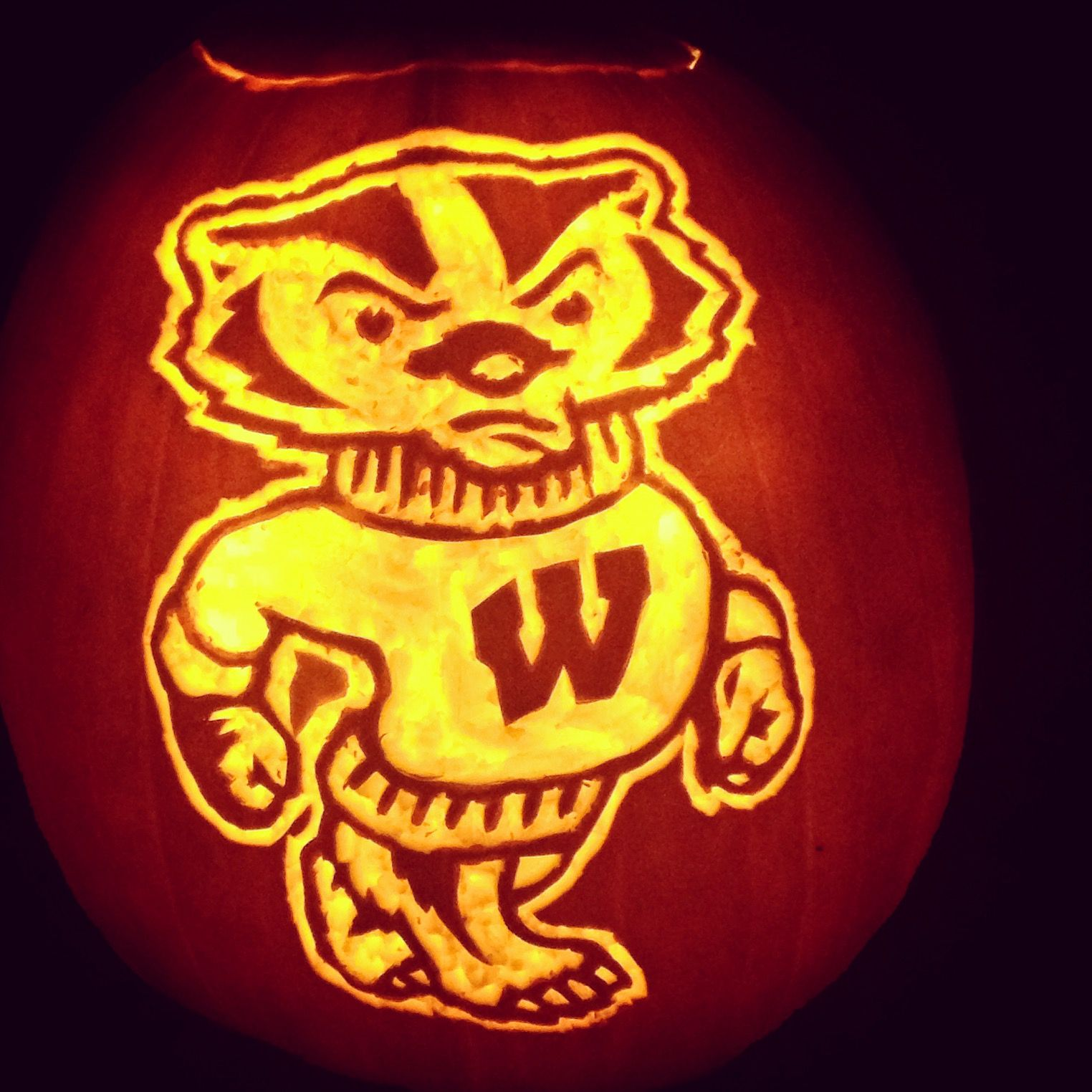 Bucky Badger Pumpkin Carving! 1) Gut and really thin out those ...