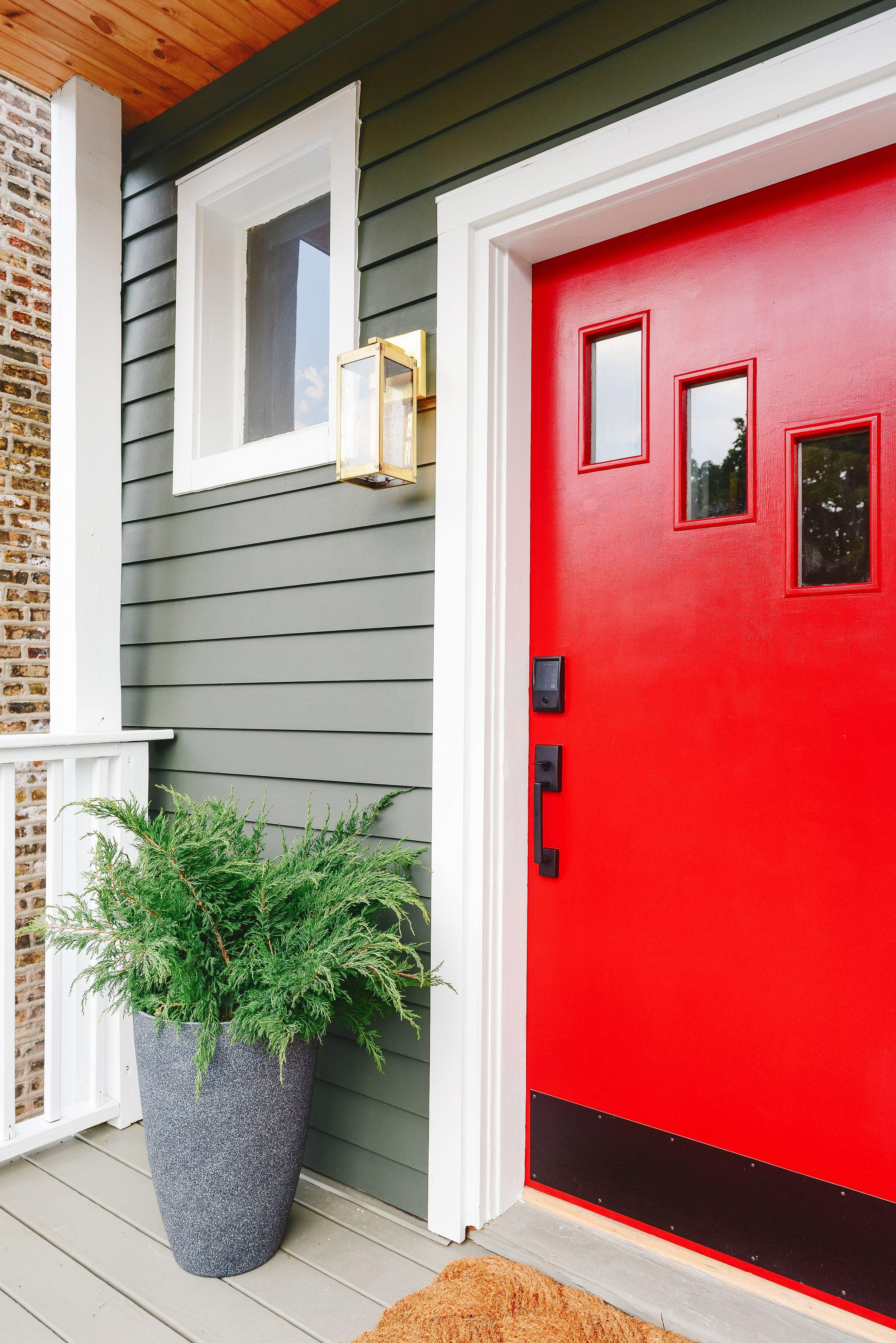 Pairing Smart Technology With Our Vintage Doors In 2020 Vintage Doors Red Front Door Chevron Door