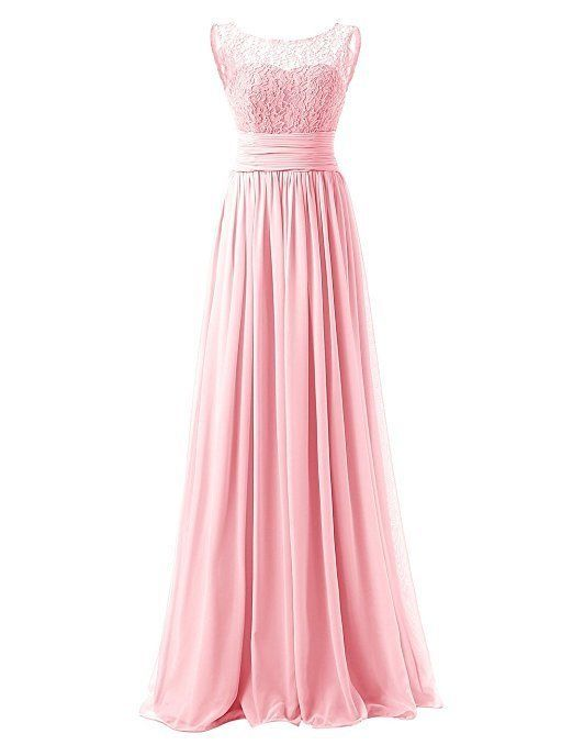 Awesome US Women Long Prom Dress Bridesmaid With Lace Chiffon Evening Party Formal Dress 2018 2019 #lacechiffon
