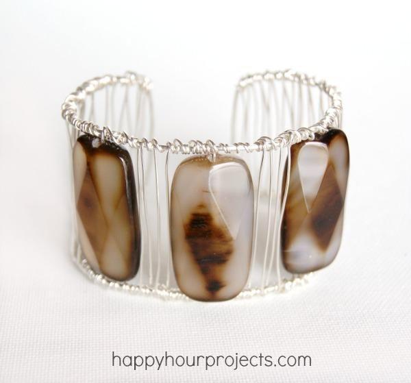 DIY Wire Wrapped Agate Cuff Bracelet DIY Jewelry DIY Bracelet
