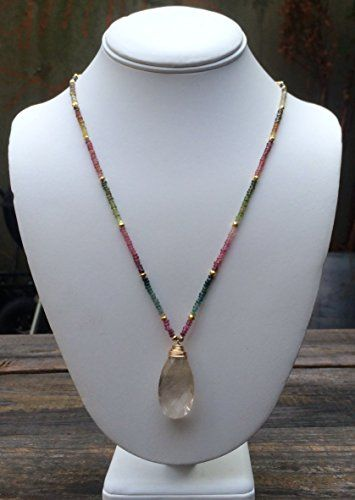 Long Tourmaline Necklace with Rutile Quartz Pendant *** You can get additional details at the image link.