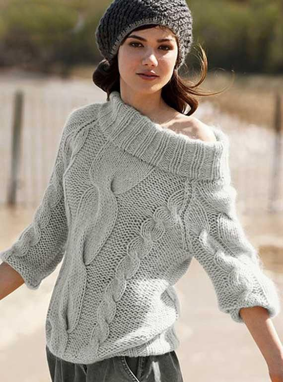 Women\'s Hand Knitted Boatneck Sweater 13C | lavori a maglia ...