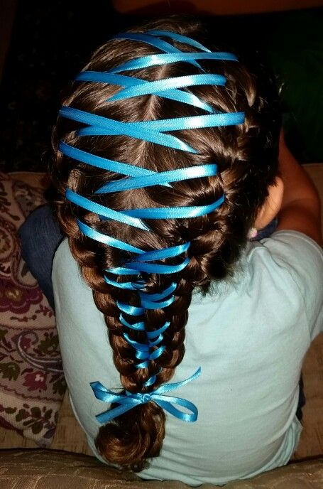 Double French braids connected by a ribbon weave Do braids first - double first