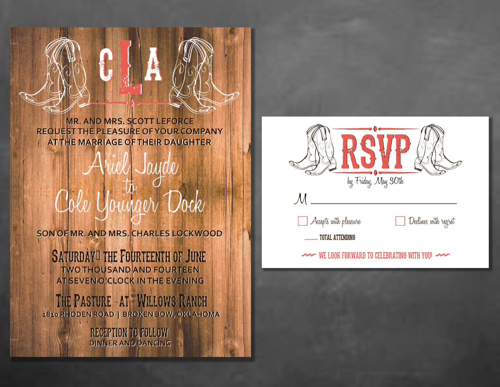 Rustic Country Cowboy Wood Themed Wedding Invitation Set By Wentroth Designs Visit Us On Facebook
