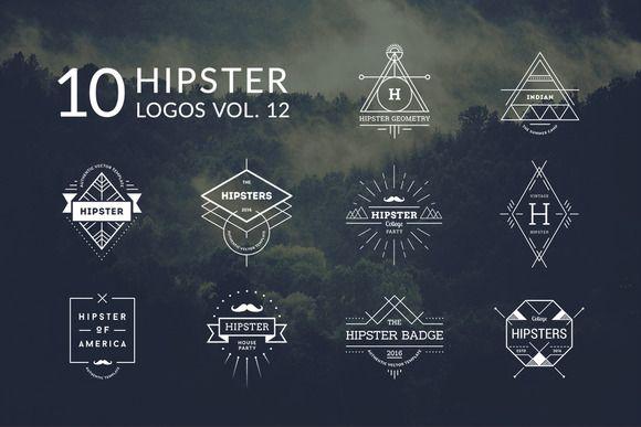 10 Hipster Logos Vol 12 by Piotr Łapa on @creativemarket - hipster logo template