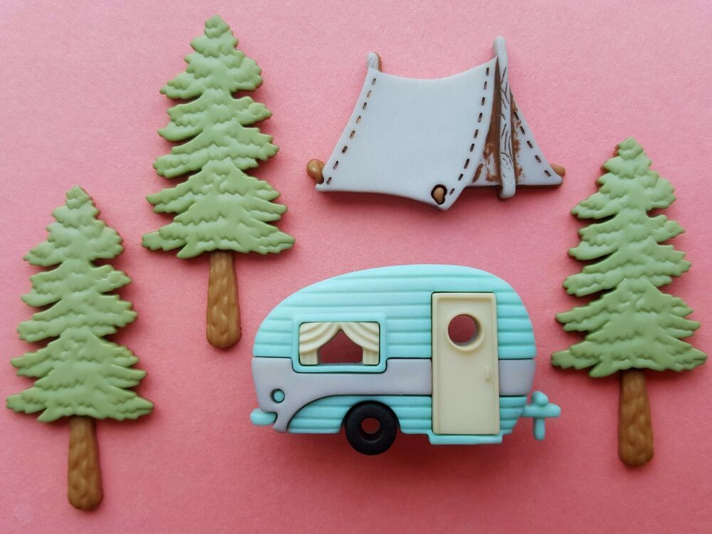Caravan Camping Tent Trees Forest Dress It Up Craft Buttons HITTIN/' THE TRAIL