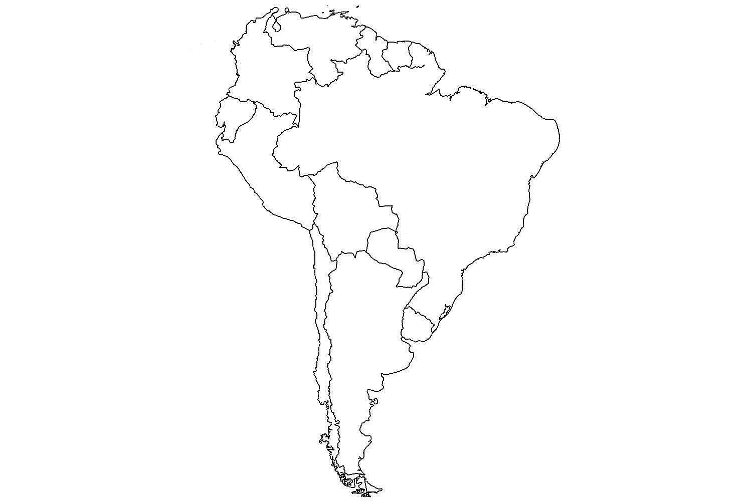 World Map With Countries Unlabeled Map Of South America