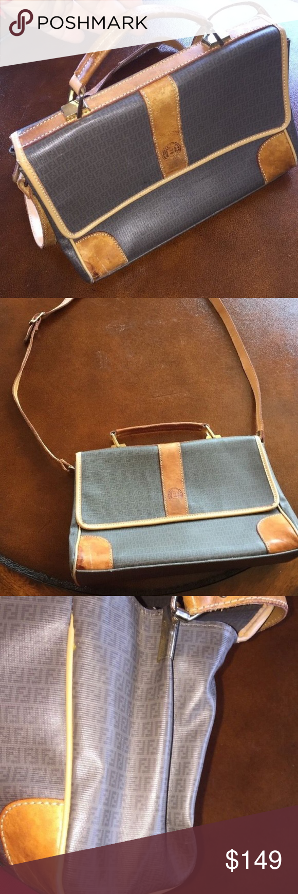 9514318c6be Fendi Zucca Brown Leather Vintage Bag -This is a Vintage Fendi Bag. Can be