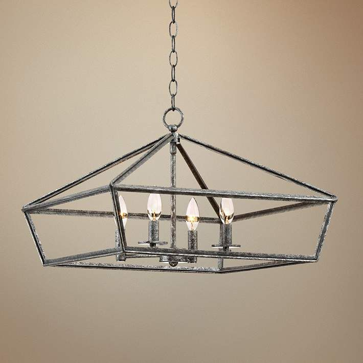 "Lamps Plus Pendant Lights Gorgeous Newberra 20 14""w Antique Gray Square Frame 4Light Pendant  Style Inspiration Design"