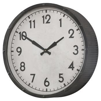 Rhett Industrial Loft Black Iron Vintage Wall Clock