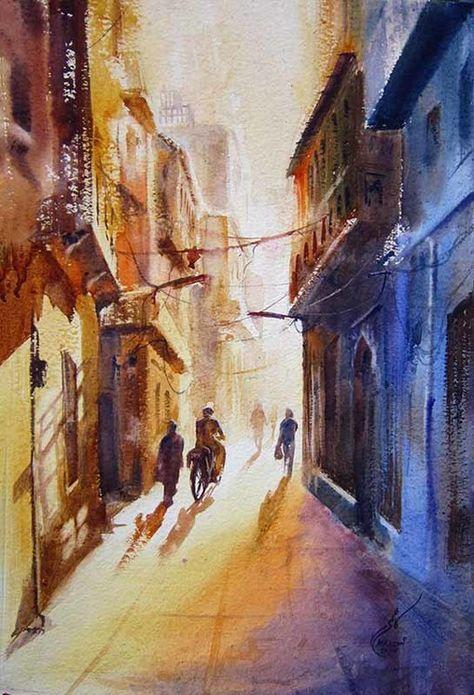 Lahore Peinture Aquarelle 15x22 In C 2015 Par Mkazmi Syed