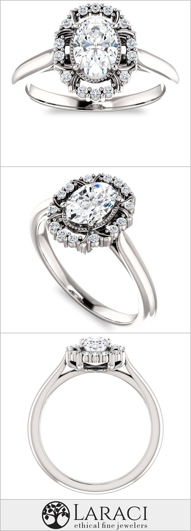 K white gold cathedral halo style engagement ring with milgraine