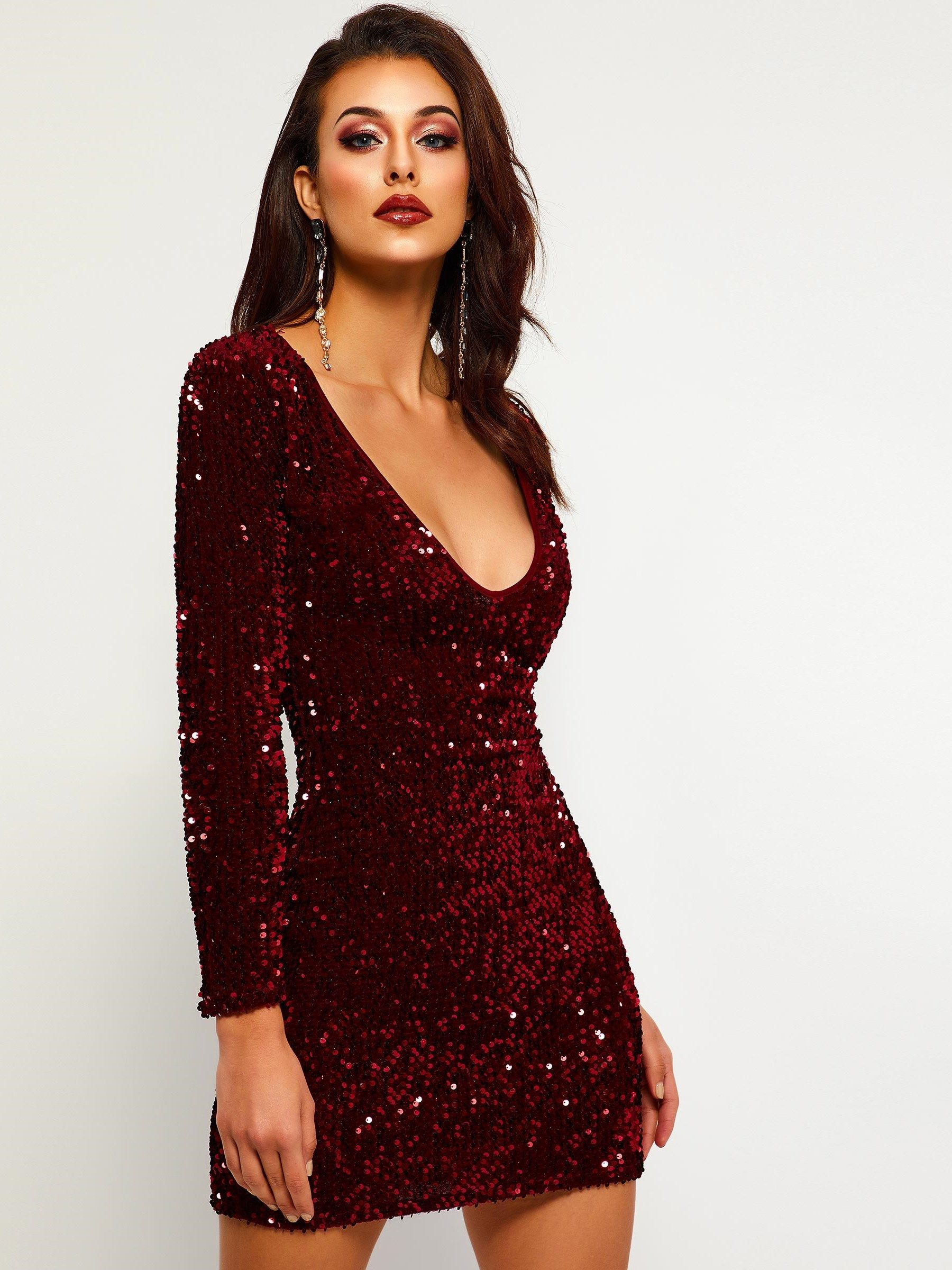 Sequins V-Neck Long Sleeve Women s Party Dress in 2019  f435bb7c38c0