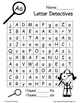 letter detectives printable letter recognition activities kindergarten homeschool. Black Bedroom Furniture Sets. Home Design Ideas