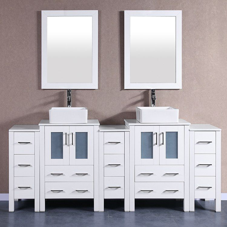 Bosconi Aw224cbeps3s 84 Double Bathroom Vanity Set With Phoenix Stone Top Square Vessel Sink Mirrors White Vanity Bathroom Vanity Set With Mirror Vanity Set