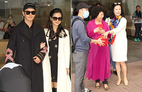 new parents huang xiaoming and angelababy greet the press angelababy new parents asian celebrities