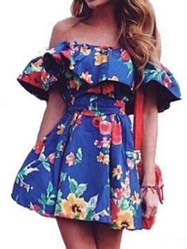 Blue Flounce Off Shoulder Floral Tie Waist Dress