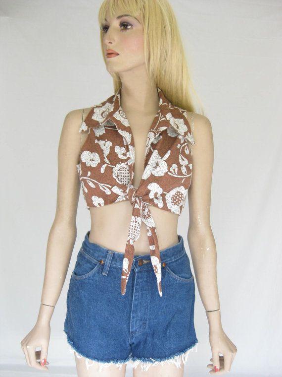 Vintage 70s Boho Batik Cropped Tie Top Blouse by TimeBombVintage