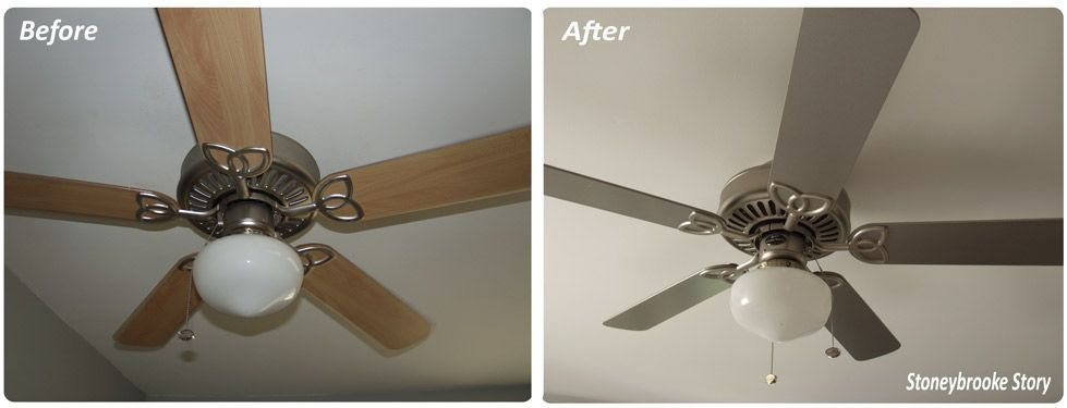 Spray Painted Ceiling Fan Gray Satin Nickel