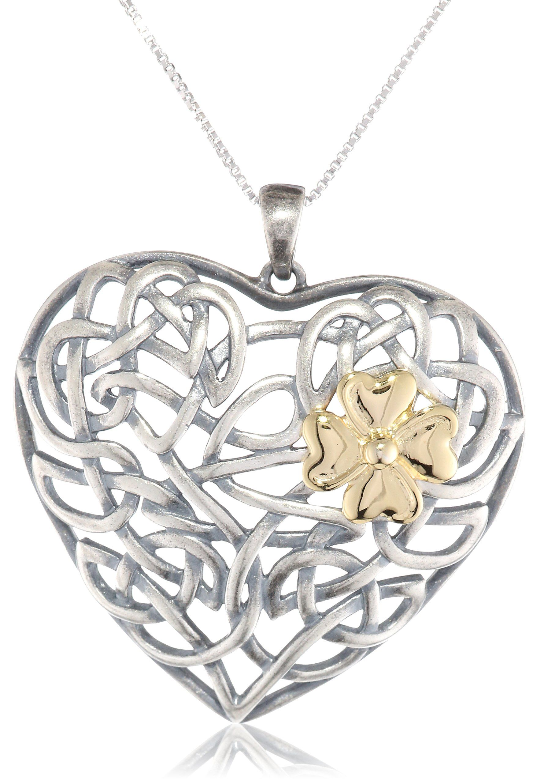 """18k Yellow Gold Plated Sterling Silver Two-Tone Oxidized Celtic Heart Knot and Clover Pendant Necklace, 18"""""""