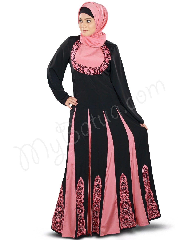 Multi panel coral pink and black color anarkali wedding Abaya ...