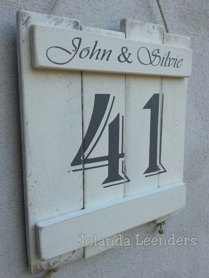 Hedendaags Naam/huisnummer. (met afbeeldingen)   Huisnummer borden, Houten MX-75