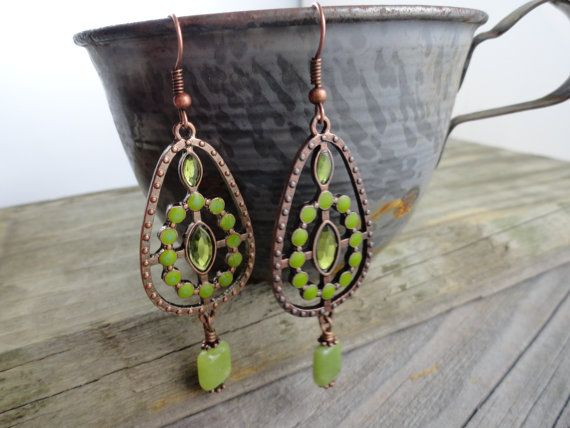 Copper colored with olive green stones and  by WynnesWhimsies, - The Boho Look!