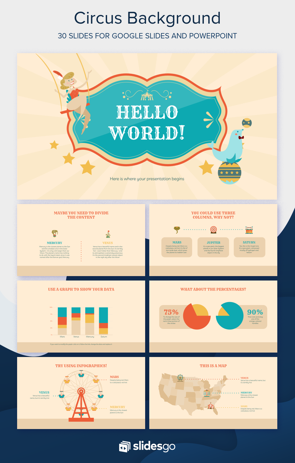Roll Up And See This Wonderful Free Presentation Template Featuring Circus Backgrounds And Illustrations In 2020 Circus Background Presentation Template Free Templates